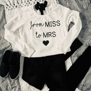 "Sweaters - ""From Miss To Mrs"" Bridal Long Sleeve Tie Back Top"